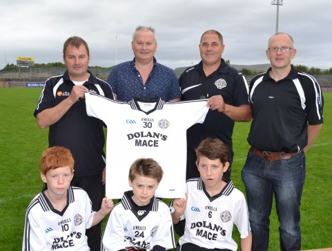 Keith Dolan (centre back) presents the first set of jersies to the U13 team management Martin Flanagan and Mick Hurley. Also pictured are Club Secretary Paul Breen, Eoin McNamee (vice-captain), Gearoíd Dolan and Sean Laird (captain).